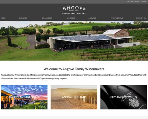 Angove Family Winemakers Screenshot of Website