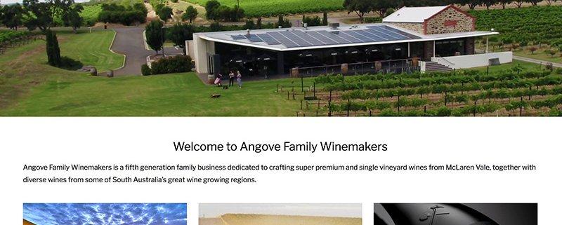 Angove Family Winemakers Screenshot of Website