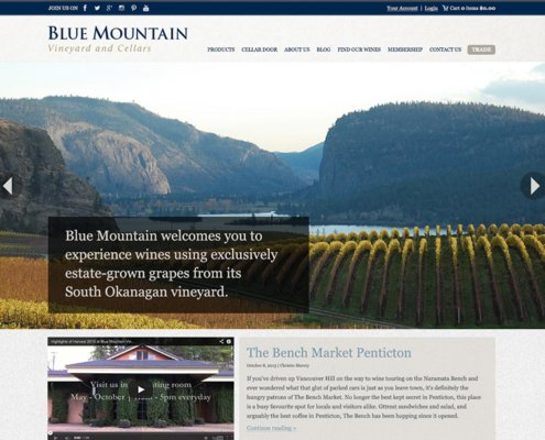 Blue Mountain Vineyard and Cellars Website Screenshot