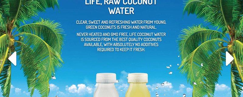 Life Coconut Water Screenshot of Website