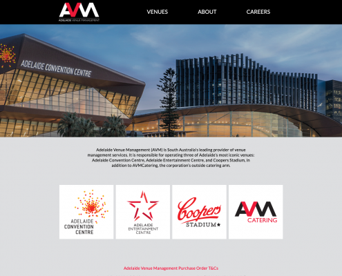 On the Adelaide Venue Management site the header image shows the Adelaide Convention center which is a modern events venue for weddings, graduations etc. The main part of the building is angular with the lower part being curved like the brim of a cap.